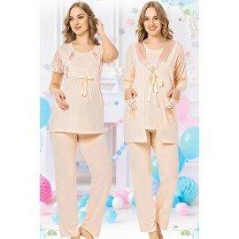 Sabahlıklı Lohusa Pijama Takımı Jenika 35738 3lü Sabahlıklı Hamile Pijaması