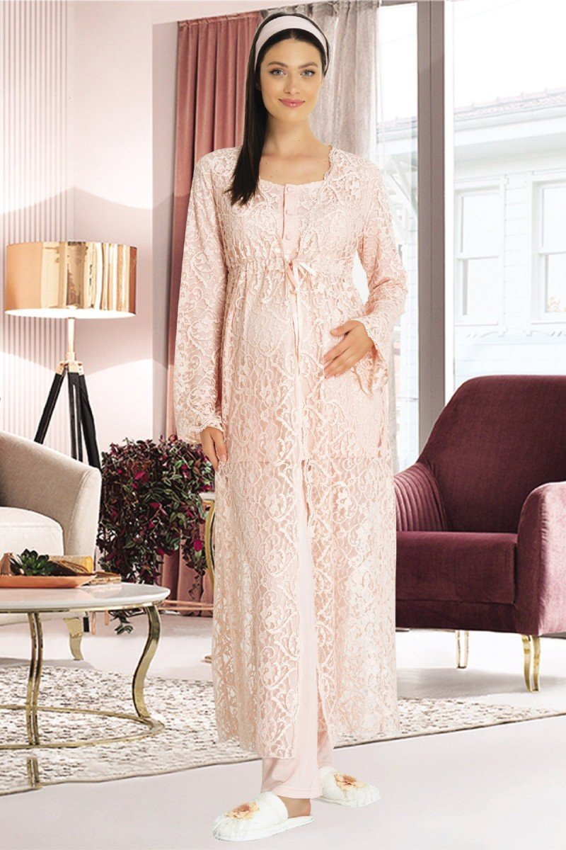 Mecit 5322 Üçlü Lohusa Pijama Takımı - Bayan Pudra, Ekru ve Mavi Renk Seçenekli 3lü Lohusa Pijama Takımı