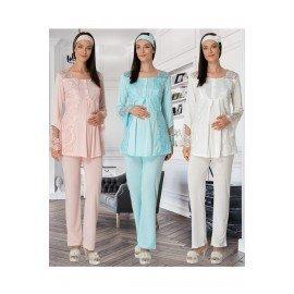 Mecit 5015  - 2 li Lohusa Pijama Takımı - Mecit Pijamaları  Kadın Pudra, Ekru ve Mavi Renk Seçenekli İkili Hamile Pijama Takımı