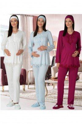 Mecit  2 li Kışlık Lohusa Pijama Takımı - Mecit 5309 Kışlık Bayan Pudra, Ekru ve Mavi Renk Seçenekli İkili Hamile Pijama Takımı