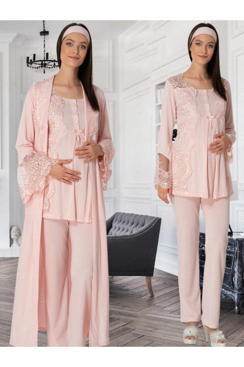 Mecit 5353 Üçlü Lohusa Pijama Takımı - Bayan Pudra, Ekru ve Mavi Renk Seçenekli 3lü Lohusa Pijama Takımı