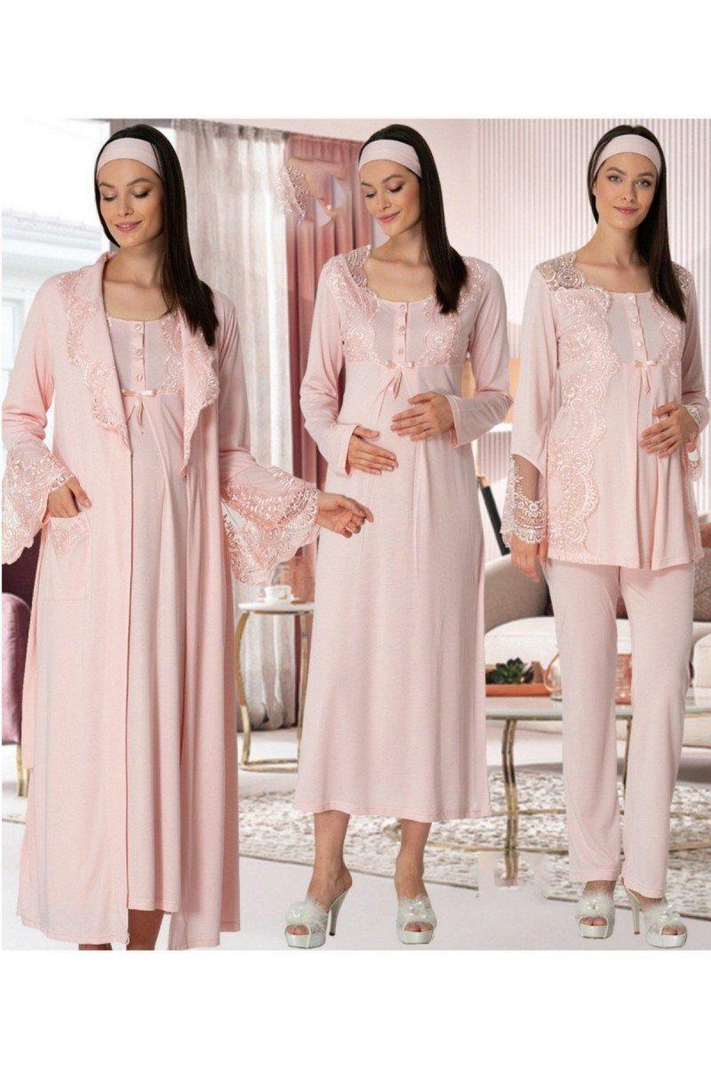 Mecit 5355 Dörtlü Lohusa Pijama Gecelik Takım - Bayan Pudra, Ekru ve Mavi Renk Seçenekli 4 lü Lohusa Pijama Gecelik Takım