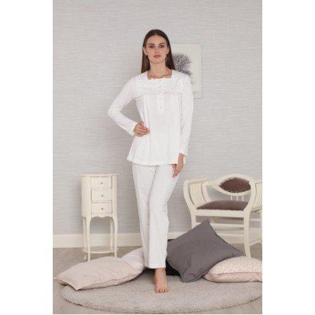 Ekru Renk Kadın Sabahlıklı Lohusa Pijama Takımı Tuba 557- 3 lü Hamile Pijama Takımı