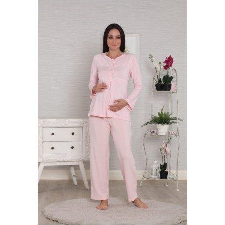 Kadın Pudra Renk Tuba 568 Lohusa Hamile Sabahlıklı Pijama Takımı