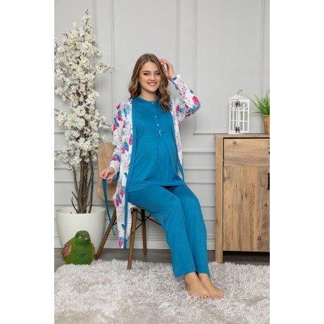 Mavi Renk Kadın Sabahlıklı Lohusa Pijama Takımı Tuba Pelin 1451- 3 lü Hamile Pijama Takımı
