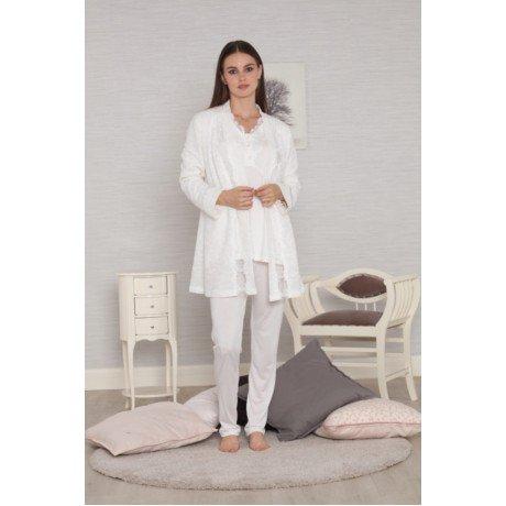 Kadın Ekru Renk Tuba 554 Sabahlıklı Lohusa Hamile Pijama Takımı