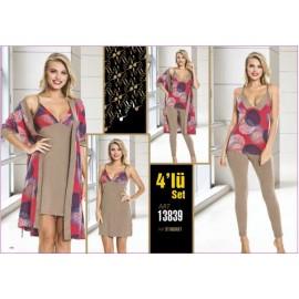 Lady Pijama 4lü Sabahlık Set ART 13839 Standart Beden