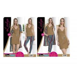 Lady Pijama 4lü Sabahlık Set ART 13858 Standart Beden