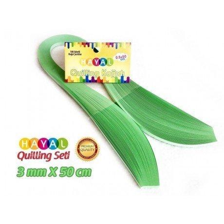 3mm Açık Yeşil Renk Quilling Kağıdı - 100'lü