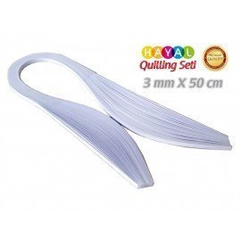 3mm Beyaz Renk Quilling Kağıdı - 100'lü