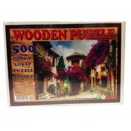 500 Parça Ahşap Puzzle - Evler ve Çiçekler Yapboz