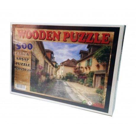 500 Parça Ahşap Puzzle - Tarihi Evler ve Sokak Yapboz