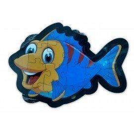 Balık Şekilli Ahşap Yapboz Puzzle - 17 Parçalı