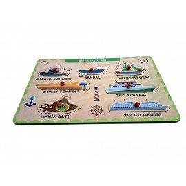 Deniz Taşıtları Bultak Tutmalı Yerleştirmeli Ahşap Oyuncak