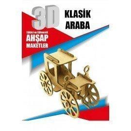 Ahşap Klasik Araba Maketi - 3 Boyutlu Ahşap Meket