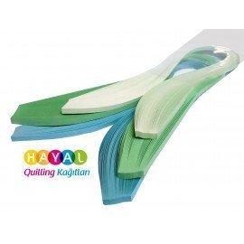 Açık Mavi, Açık Yeşil ve Buz Yeşili Quilling Kağıdı - 5mm 300'lü