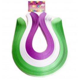 Quilling Kağıdı - Açık Yeşil, Beyaz ve Lila 300'lü