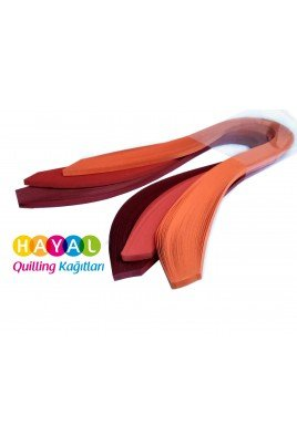 Turuncu, Kırmızı ve Koyu Kırmızı Quilling Kağıdı - 5mm 300'lü