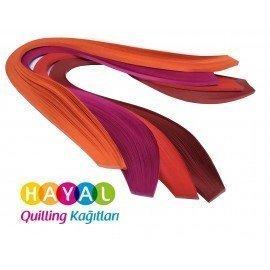 Turuncu, Fuşya, Kırmızı ve Koyu Kırmızı 400 Adetli Quilling Kağıdı